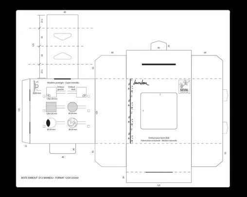 Dessin technique, plan de packaging pour des embouts de barres à rideau