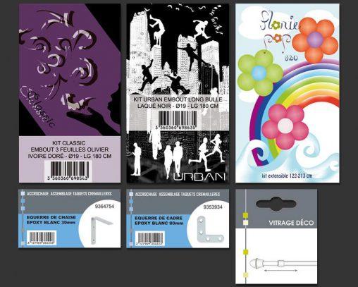 Etiquettes pour packaging, collection barres à rideau et quincaillerie