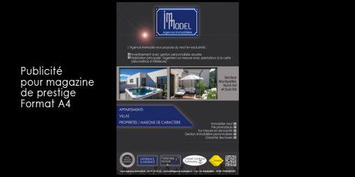 Création de support de communication -agence Immodel : Publicité A4