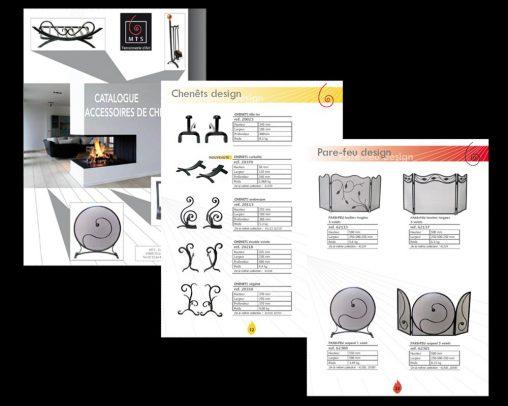 Extrait du catalogue de ferronnerie d'art, collection d'accessoires de cheminée