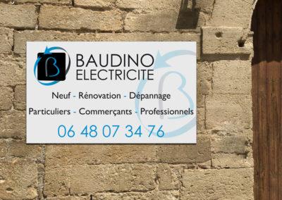 Création d'un panneau d'enseigne pour la société Baudino Electricité